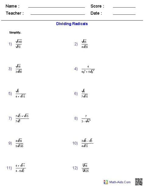 Simplifying Radicals With Variables And Exponents Worksheet  Showme Simplifying Radicals With