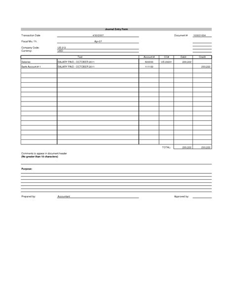 journal entry template excel blank