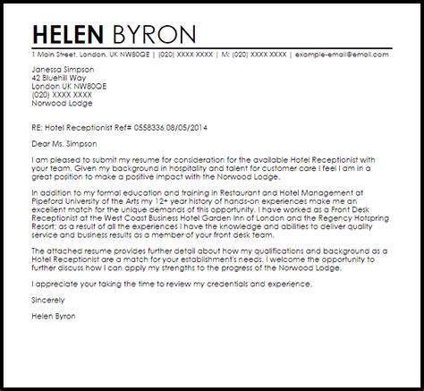 hotel receptionist cover letter sample cover letter templates examples