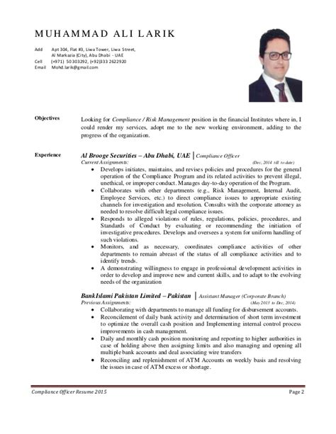 chief compliance officer resume compliance officer