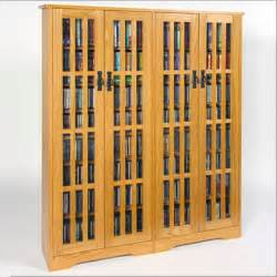 double wide tall mission media cabinet glass doors