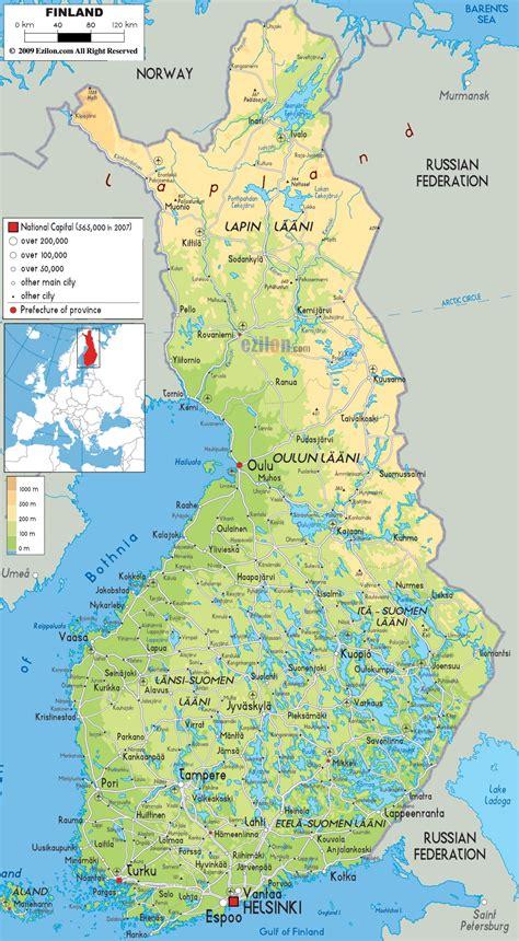 Подробная карта Финляндии на русском языке с городами