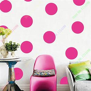 Polka circles wall decor : Polka dots vinyl decal diy pink circles wall art colored