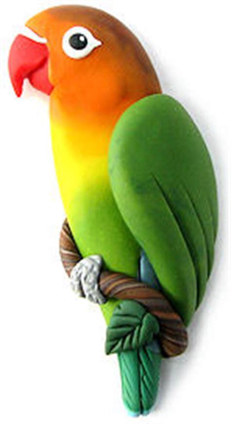 custom parrot pins handsculpted polymer clay bird art
