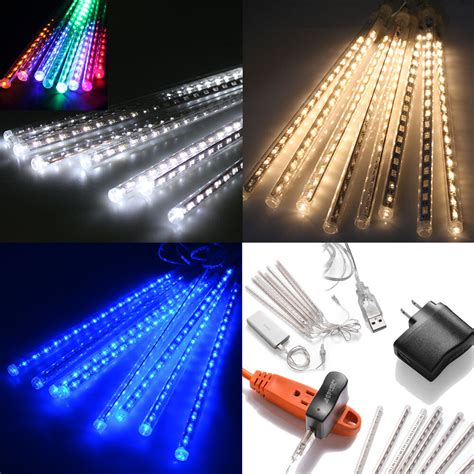 4m white led snowfall icicle lights 50cm drop meteor shower falling drop icicle snow led tree string light ebay