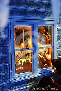 Frosted Window With Christmas Decorations Stock
