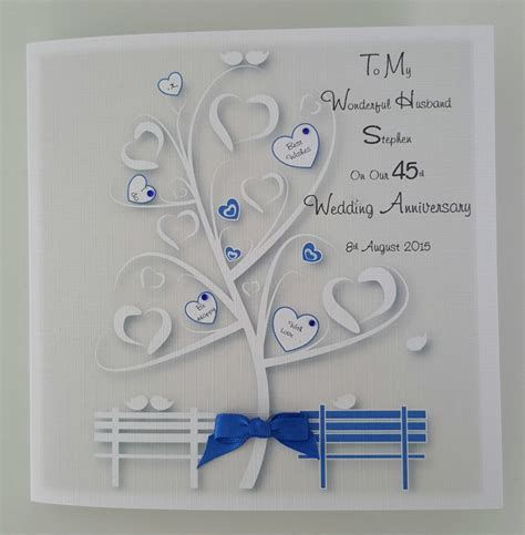 Anniversary (72) for husband (19) for wife (18) for couple (15) christian (1) funny & lighthearted (16) western (6) design features. Personalised On Our 45th Sapphire Wedding Anniversary Card Husband Wife Any Occasion Any Colour ...