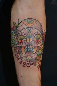Extreme sugar skull tattoo on chest