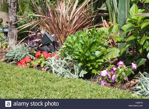 flower bed lights part of a garden with artificial grass flower bed and
