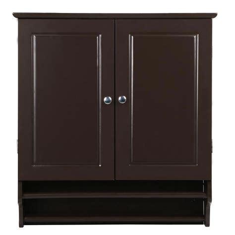 Bathroom Wall Cabinet With Towel Bar by Espresso 2 Door Bathroom Wall Cabinet Cupboard With Towel