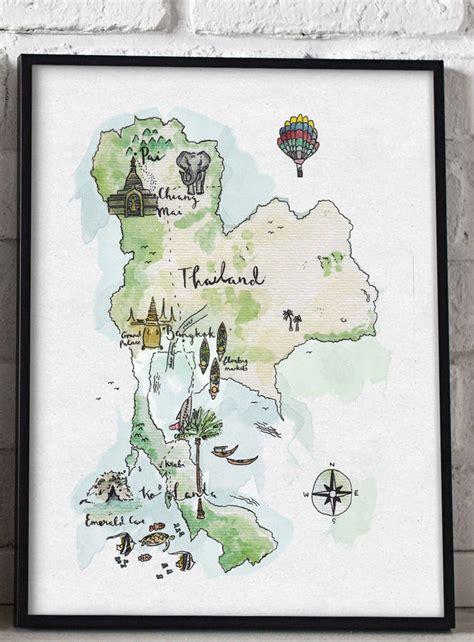 illustrated map  thailand art print  wildflower