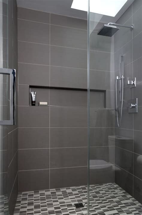 Modern Bathroom Gray Tile by Simple And Bathroom With Black Tapware Large