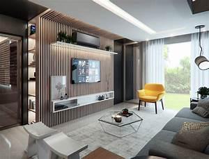 Sala moderna com painel de madeira CASA CLAUDIA