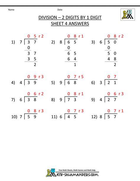 Division Worksheets 3rd Grade