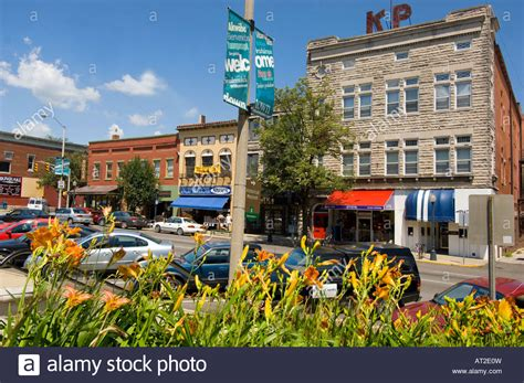 Shops in the downtown square in Bloomington Indiana where ...