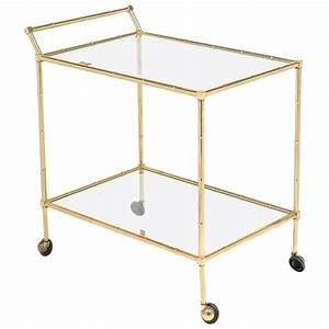 Vintage French Brass Faux Bamboo Bar Cart Or Trolley By