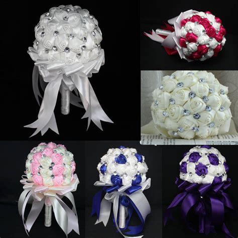 fashion wedding bride bouquet crystal silk diy wedding