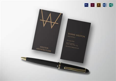 black architect business card  psd word publisher