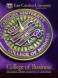 College Of Business Annual Report 2012 By East Carolina