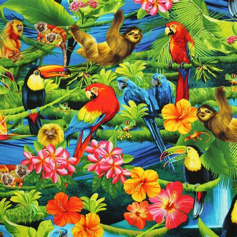 Timeless Treasures Tropical Rainforest Parrots Macaws