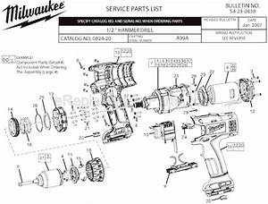 Milwaukee 0824-20 Parts List And Diagram