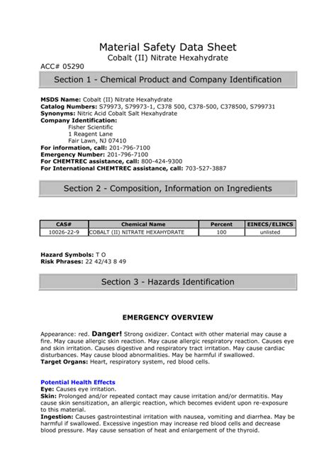 material safety data sheet cobalt ii nitrate hexahydrate acc