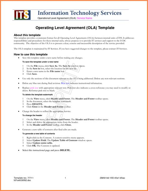 standard service level agreement template purchase