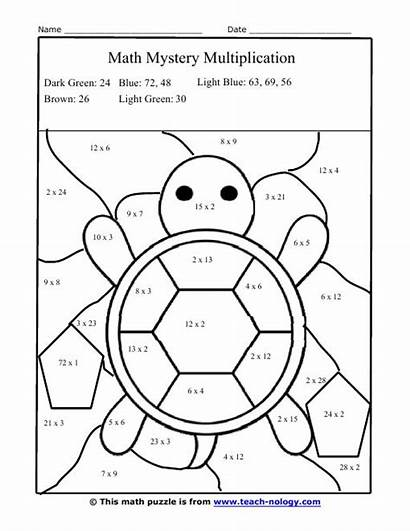 Multiplication Coloring Worksheets Facts Puzzle Turtle Numbers