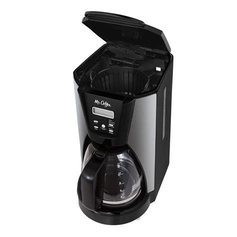 The cord is short, as a precaution. Mr. Coffee 12-Cup Programmable Coffee Maker in Chrome/Black   MrOrganic Store