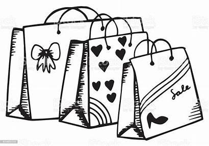 Shopping Bag Drawing Cartoon Drawn Bags Cardboard
