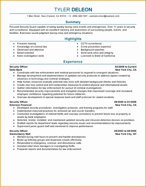 Security Officer Resume Format by 6 Guard Security Officer Resume Free Sles Exles