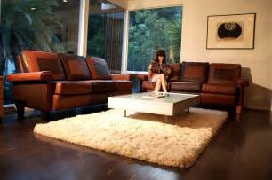 leather livingroom furniture white fur rug with glass top living room table and brown leather sofa with arms for small