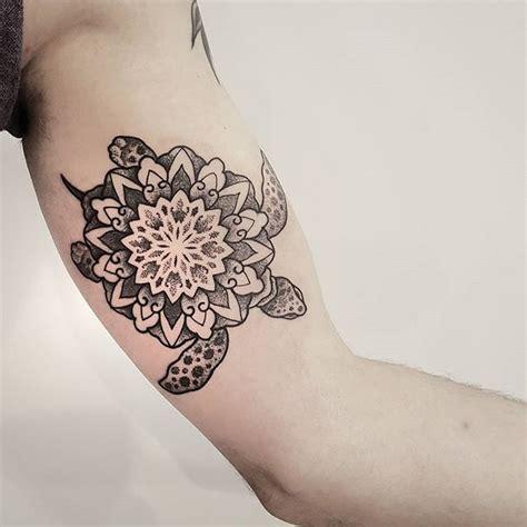 grey  white dotwork mandala flower turtle tattoo  bicep