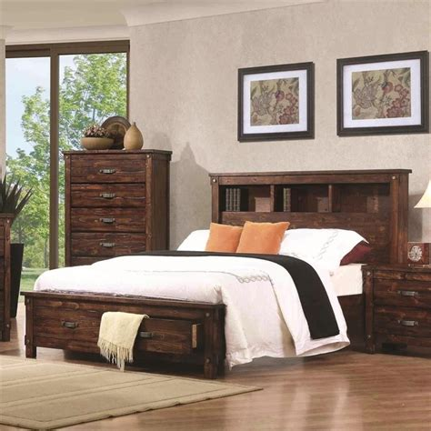 King Bookcase Storage Bed by Coaster Noble King Bookcase Storage Bed In Rustic Oak