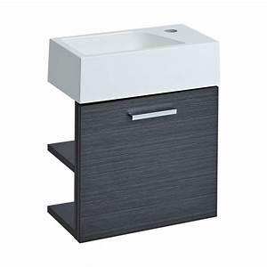 Waschtisch Für Gäste Wc : waschtisch f r g ste wc mit unterschrank grau 400mm offene regale langley ~ Yasmunasinghe.com Haus und Dekorationen