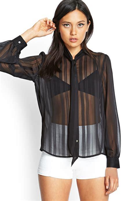 sheer black blouse forever 21 sheer striped tie blouse in black lyst