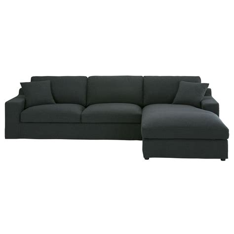 canapé droit 5 places canapé d 39 angle droit 5 places en tissu anthracite stuart