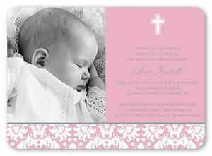Baptism Baroque Pink Invitation | Baptism Invitations ...