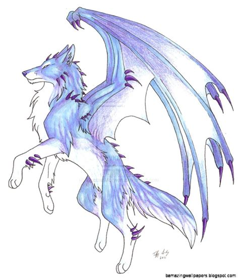 Anime Wallpaper Easy To Draw by Anime Wolf With Wings Wallpapers Gallery Dragons