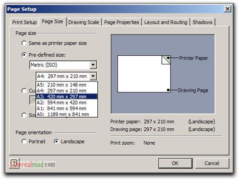 custom paper size visio