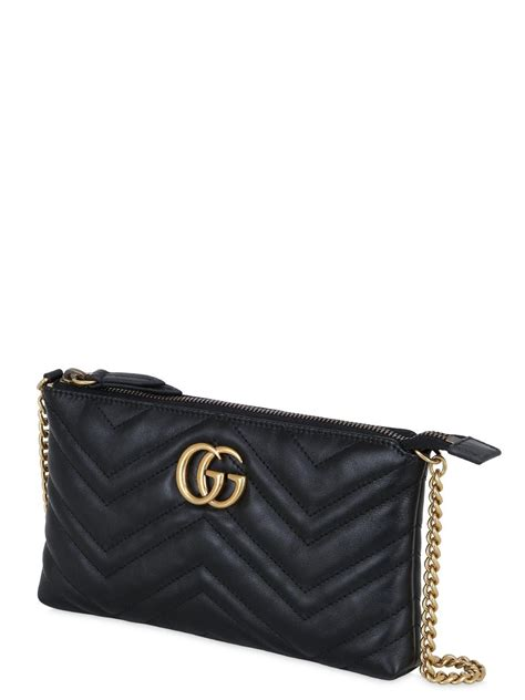 lyst gucci gg marmont  leather clutch  black