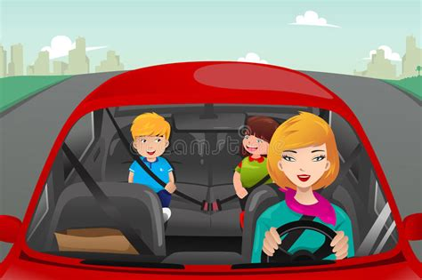 Mother Driving With Her Children Stock Vector