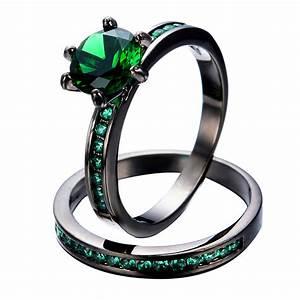 vintage emerald wedding ring set women fashion party With emerald wedding rings for women