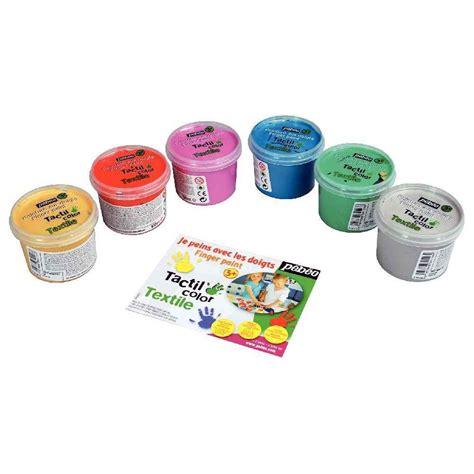 boite de 6 pots 100ml de peinture aux doigts pour textile