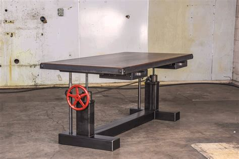industrial standing desk crank sit stand desk vintage industrial furniture
