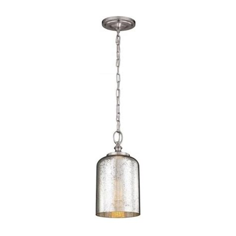 small ceiling pendant on chain silver leaf mercury effect
