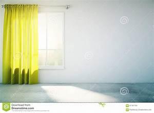 Rideau Jaune Et Blanc : rideau blanc vide en jaune de mur illustration stock image 67787754 ~ Teatrodelosmanantiales.com Idées de Décoration