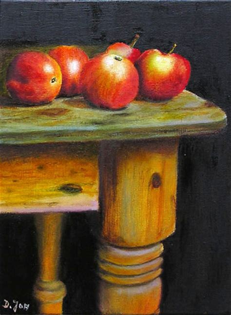oil painting  red apples  wood table  lifes