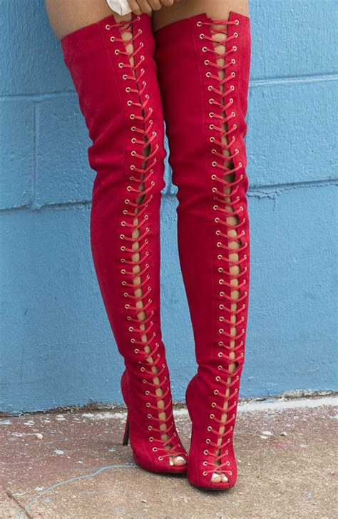 ziginy piarry red skin thigh high boot  storenvy