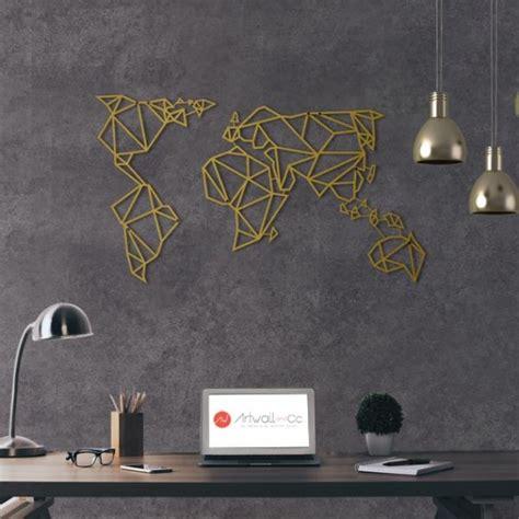 Papier Peint Carte Du Monde Gold deco murale metal carte du monde